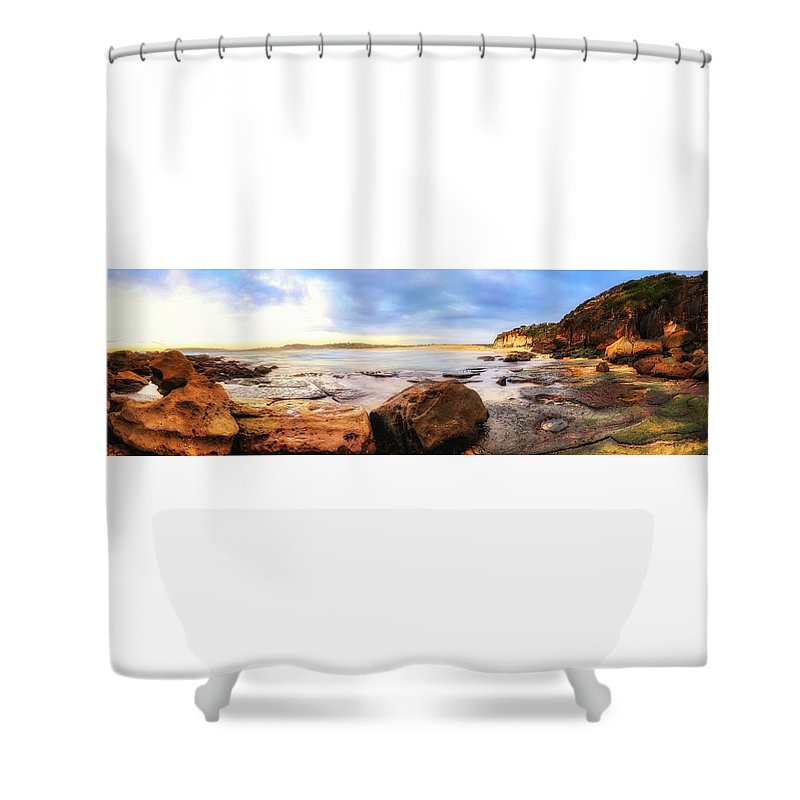 This Is My Local Beach In Sydney Australia. We Are So Lucky To Live In Such A Beautiful City. Shower Curtain featuring the photograph Rocky Cliffs by David Trent