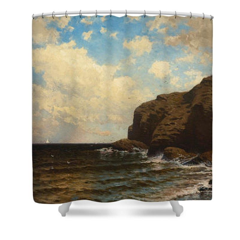 Alfred Thompson Bricher Shower Curtain featuring the painting Rocky Coast With Breaking Waves by Alfred Thompson