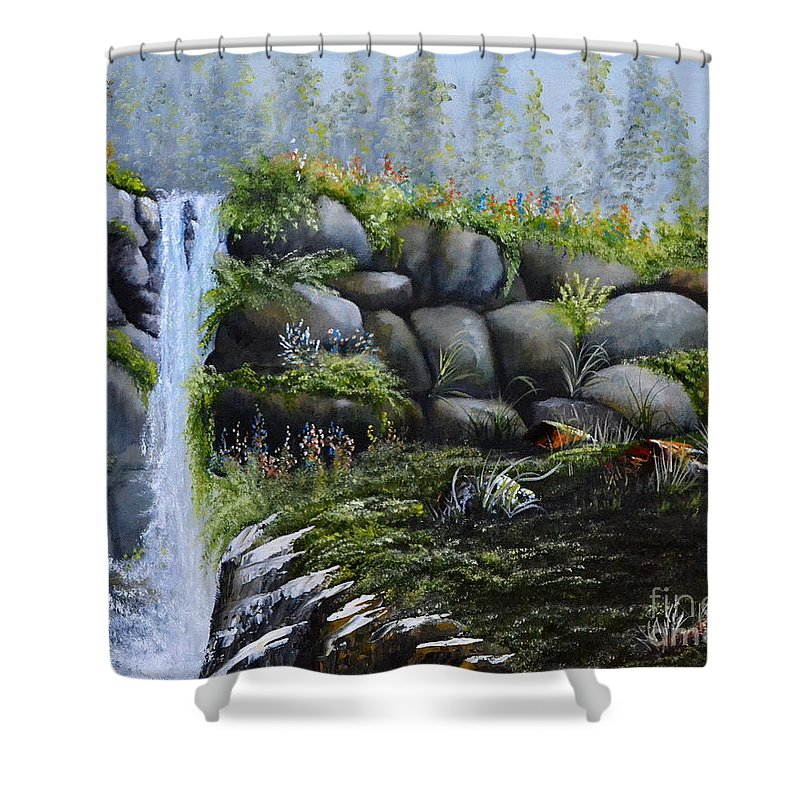 A Waterfalls In The Woods With Large Boulders Shower Curtain featuring the painting Rocky Falls by Martin Schmidt