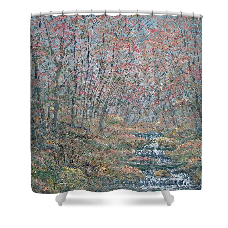Painting Shower Curtain featuring the painting Rocky Forest. by Leonard Holland