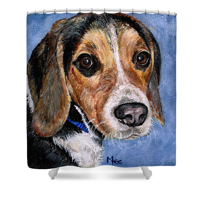 Dog Shower Curtain featuring the painting Rocky by Mary-Lee Sanders