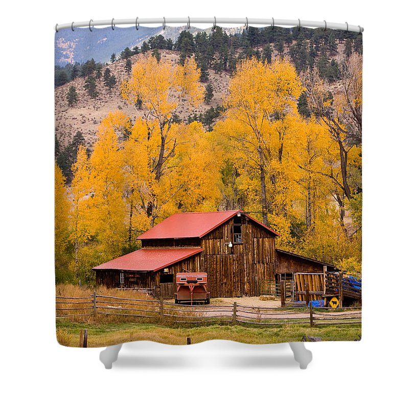 Barns Shower Curtain featuring the photograph Rocky Mountain Autumn Ranch Landscape by James BO Insogna