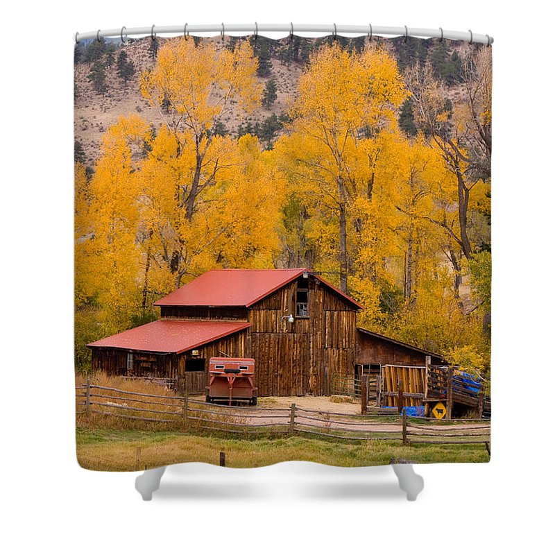 Rustic Shower Curtain featuring the photograph Rocky Mountain Barn Autumn View by James BO Insogna