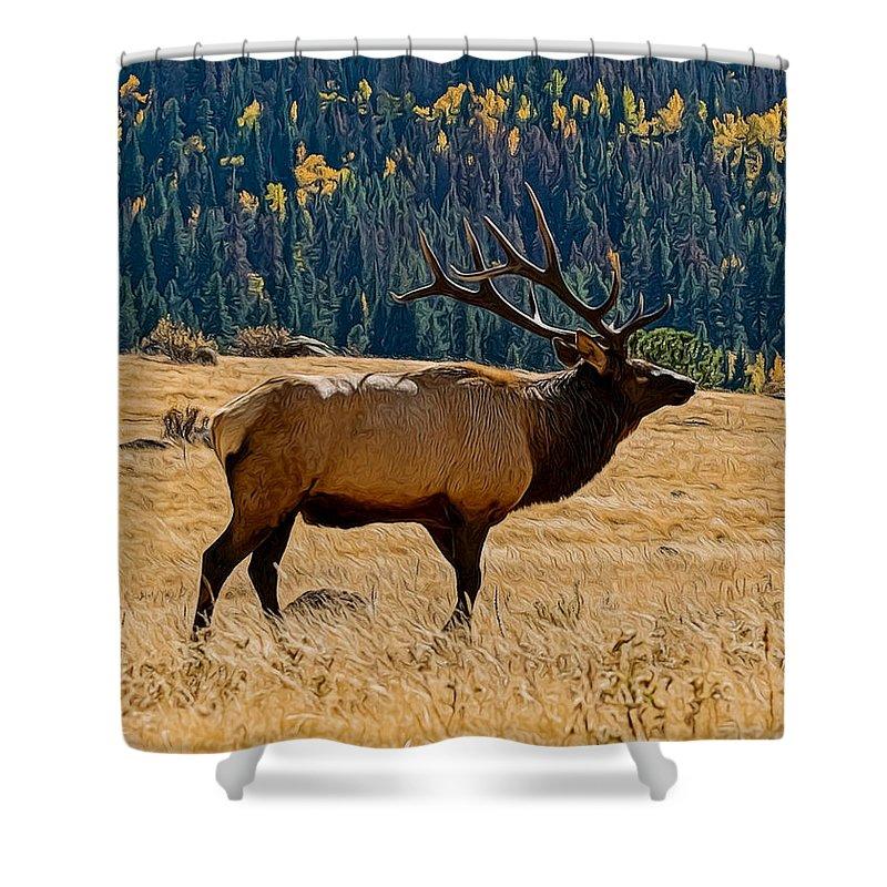 Animals Shower Curtain featuring the digital art Rocky Mountain Bull Elk by Ernie Echols