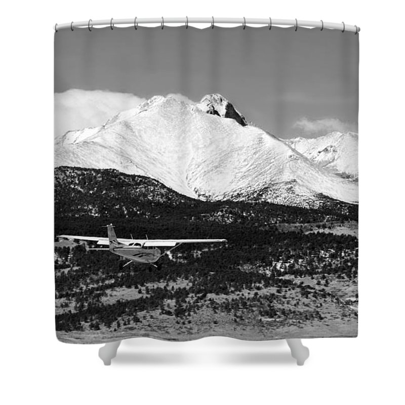 Aircraft Shower Curtain featuring the photograph Rocky Mountain Flying by James BO Insogna