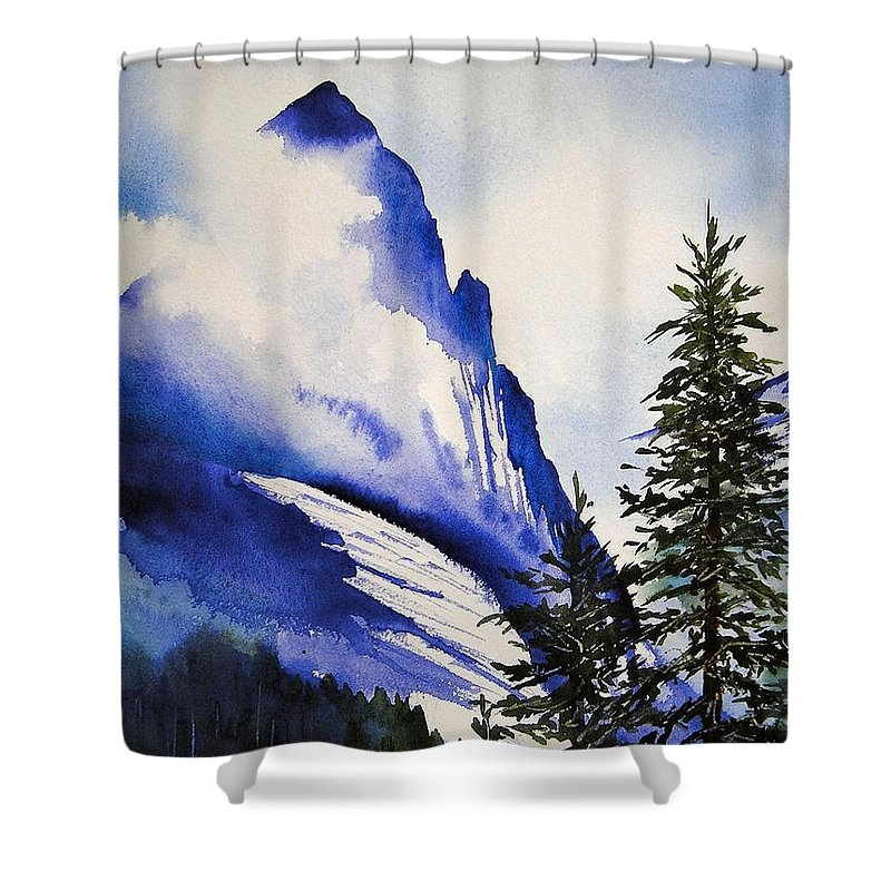 Rocky Mountains Shower Curtain featuring the painting Rocky Mountain High by Karen Stark