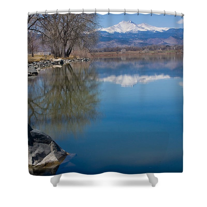 Twin Peeks Shower Curtain featuring the photograph Rocky Mountain Reflections by James BO Insogna