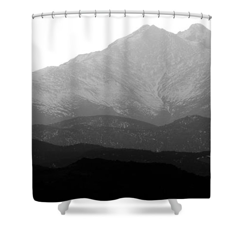 Twin Peaks Shower Curtain featuring the photograph Rocky Mountain Twin Peaks Bw by James BO Insogna