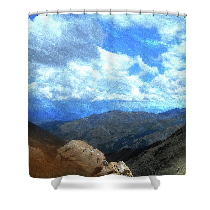 Rocky Mountains Mixed Media Shower Curtains
