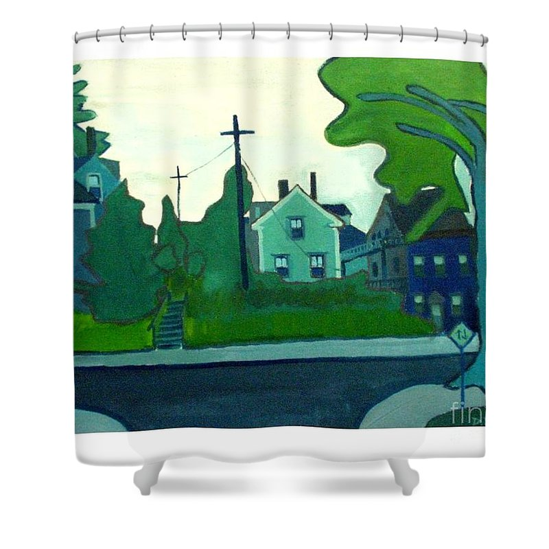 Landscape Shower Curtain featuring the painting Rocky Neck Art Colony East Gloucester Ma by Debra Bretton Robinson