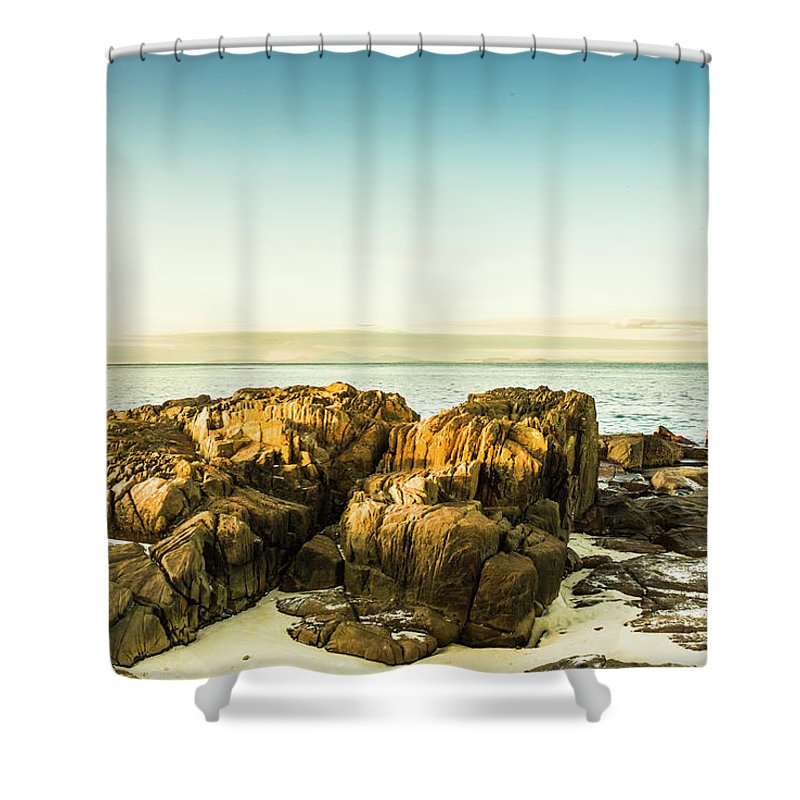 Cape Portland Shower Curtain featuring the photograph Rocky Oceanscape by Jorgo Photography - Wall Art Gallery