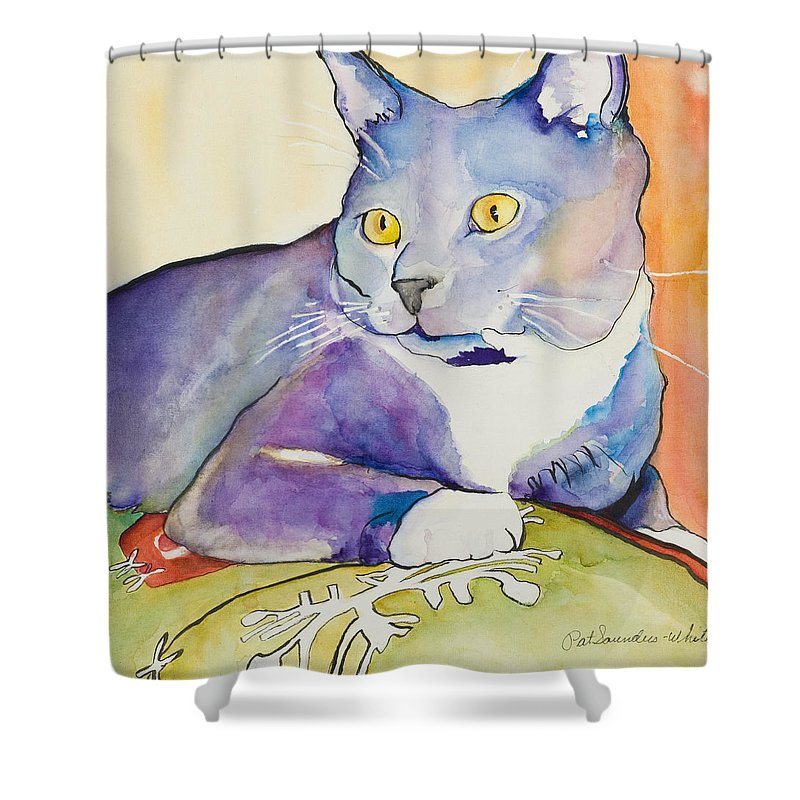 Pat Saunders-white Shower Curtain featuring the painting Rocky by Pat Saunders-White