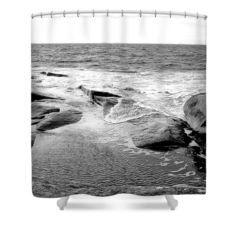 Rocks Shower Curtain featuring the photograph Rocky Shore by Greg Fortier