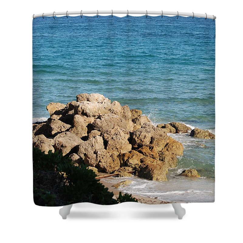 Sea Scape Shower Curtain featuring the photograph Rocky Shoreline by Rob Hans