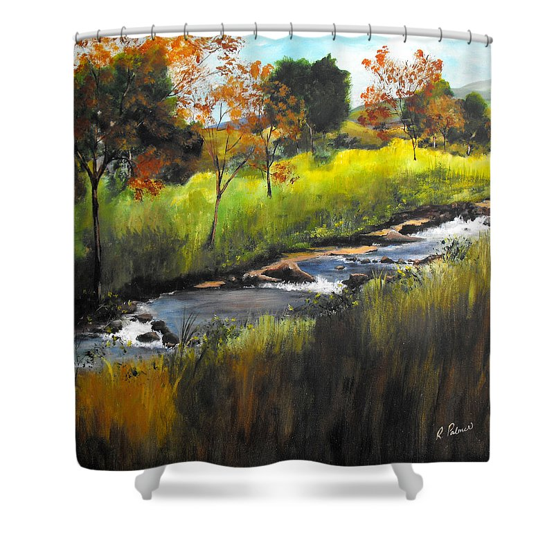 Landscape Shower Curtain featuring the painting Rocky Stream by Ruth Palmer