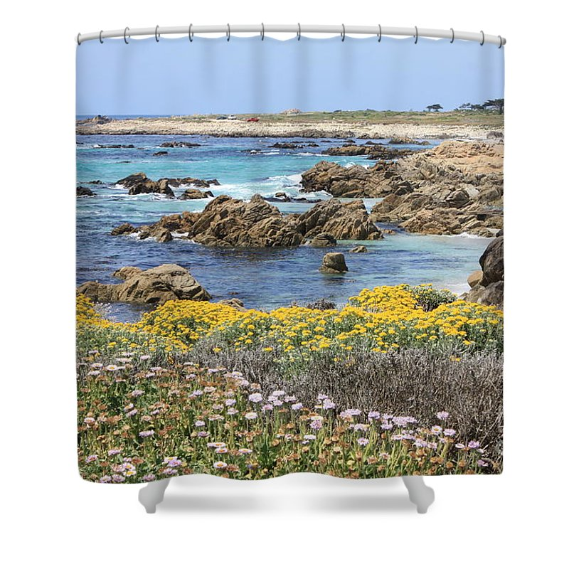 Ocean Shower Curtain featuring the photograph Rocky Surf With Wildflowers by Carol Groenen