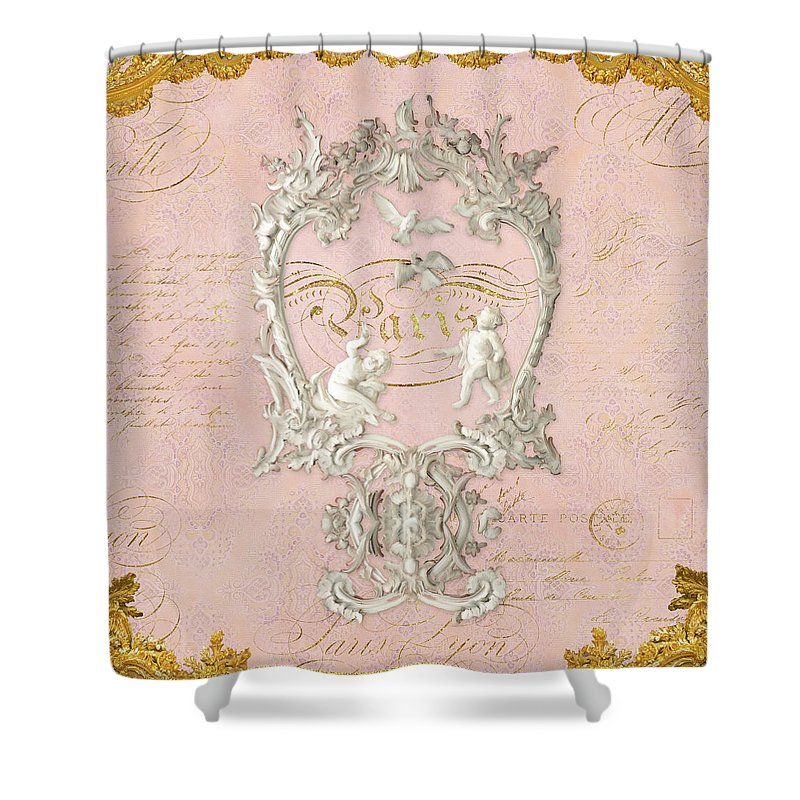 Baroque Shower Curtain Featuring The Painting Rococo Versailles Palace 1 Plaster Vintage By Audrey Jeanne