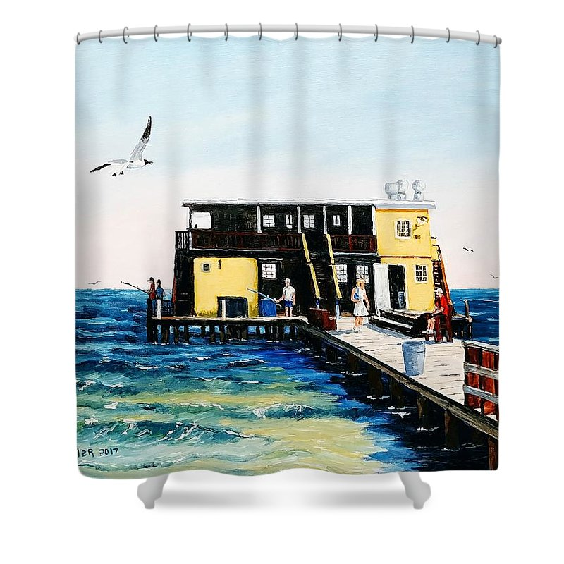 Fishing Pier Shower Curtain featuring the painting Rod And Reel Fishing Pier by Jerry SPANGLER