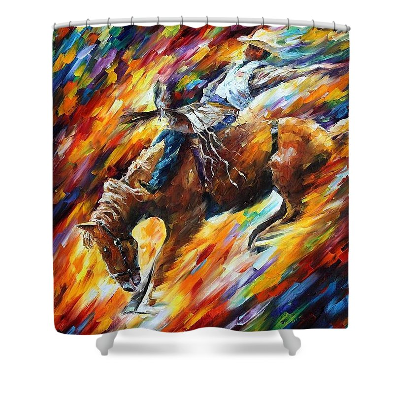 Afremov Shower Curtain featuring the painting Rodeo - Dangerous Games by Leonid Afremov