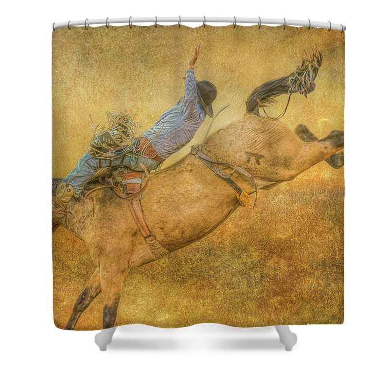 Rodeo Bronco Riding Shower Curtain featuring the digital art Rodeo Bronco Riding Five by Randy Steele