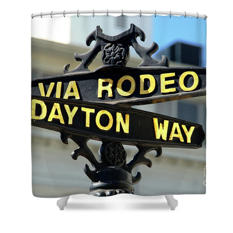 Rodeo Drive Shower Curtain featuring the photograph Rodeo Drive In Beverly Hills by Mariola Bitner
