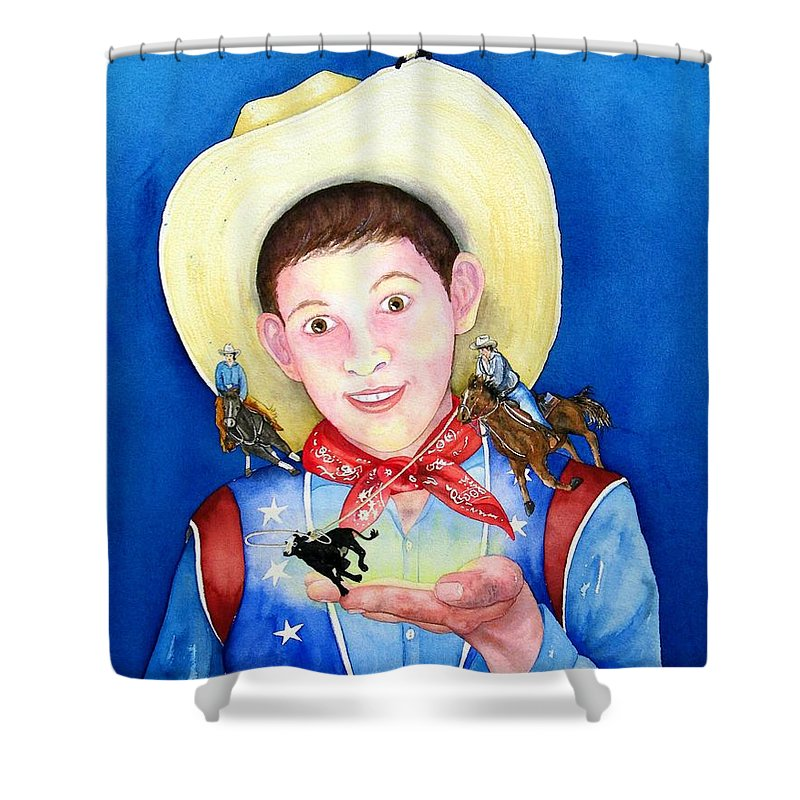 Boy Shower Curtain featuring the painting Rodeo Magic by Gale Cochran-Smith