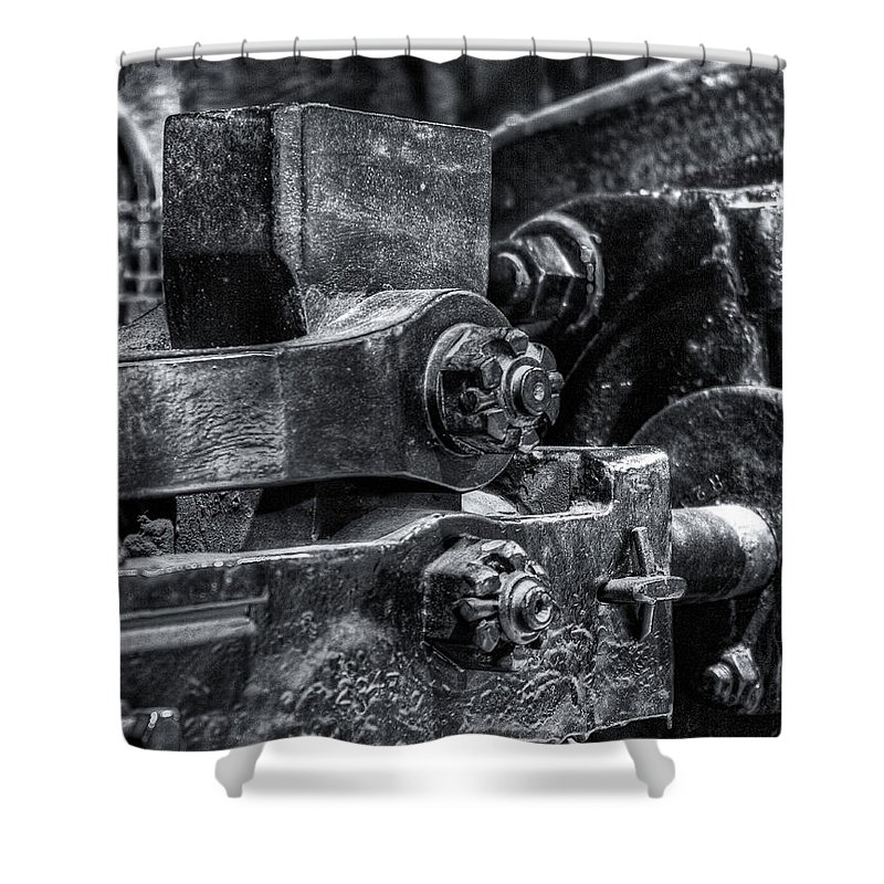 Machinery Shower Curtain featuring the photograph Rods Of Steel by Scott Wyatt