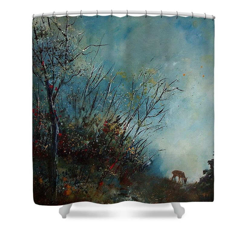Animal Shower Curtain featuring the painting Roedeer In The Morning by Pol Ledent