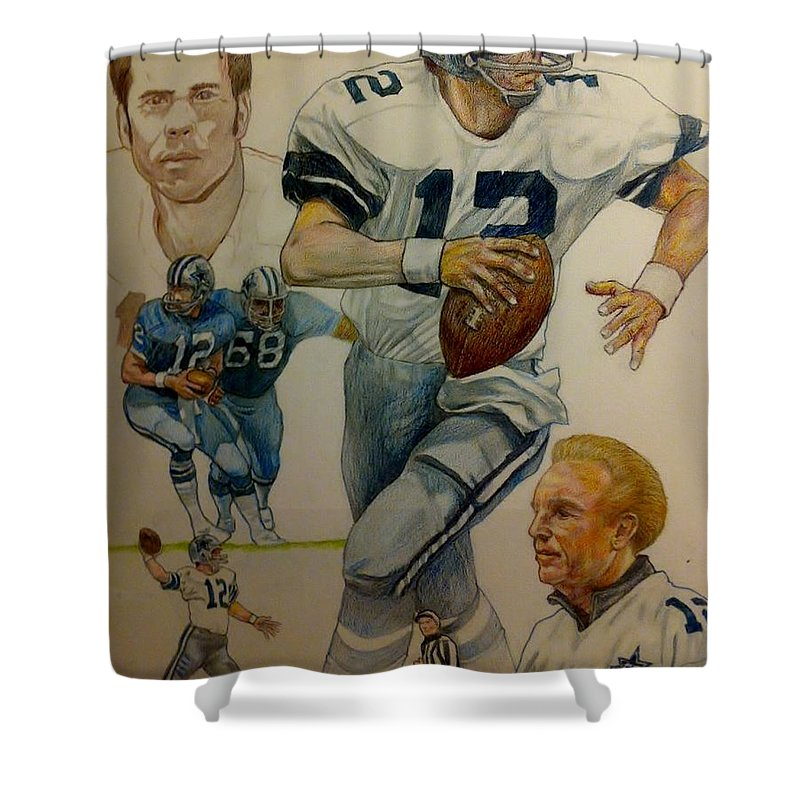 Staubach Shower Curtain Featuring The Drawing Roger Montage By Nigel Wynter