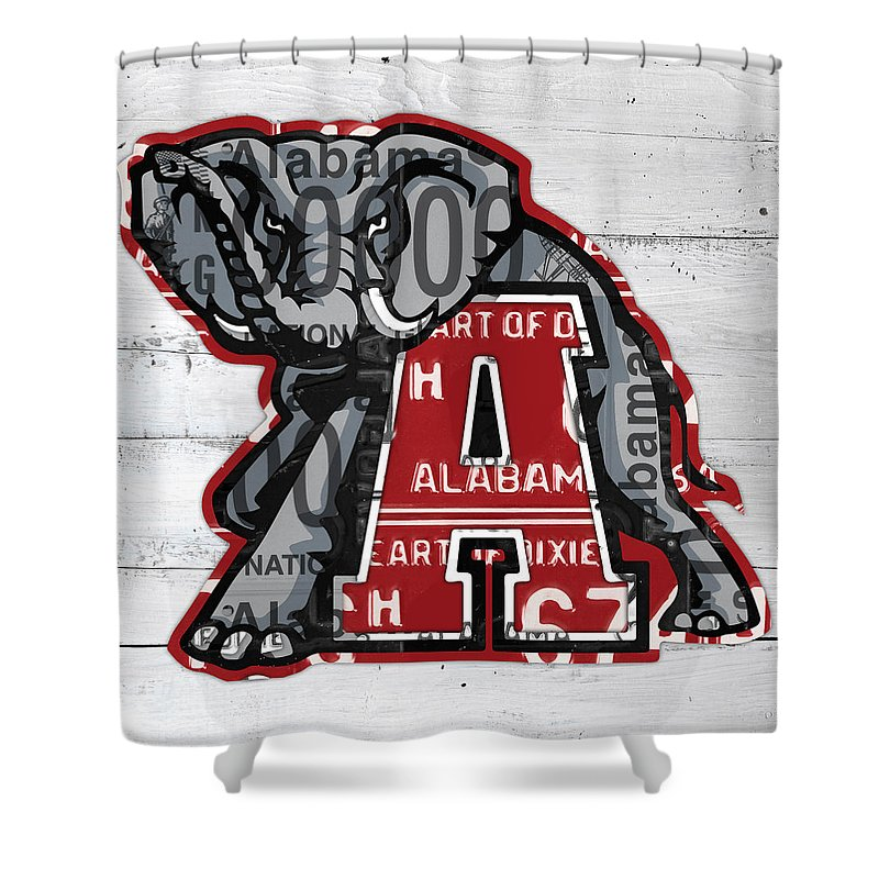 Roll Tide Shower Curtain Featuring The Mixed Media Alabama Crimson Recycled State License