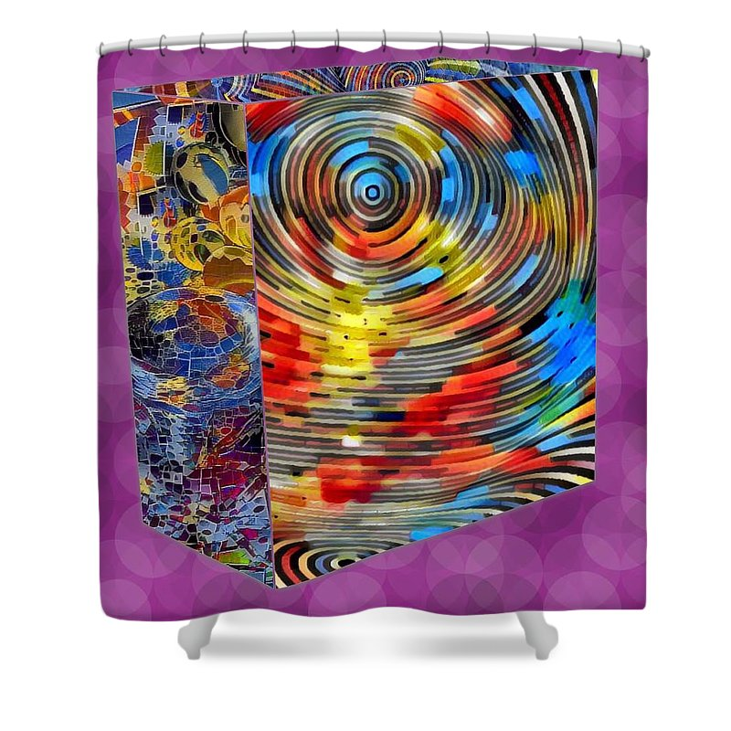Digital Art. Abstract. Mad Vision. Riot. Explosion. Shower Curtain featuring the digital art Roll With It by Lawrence Allen