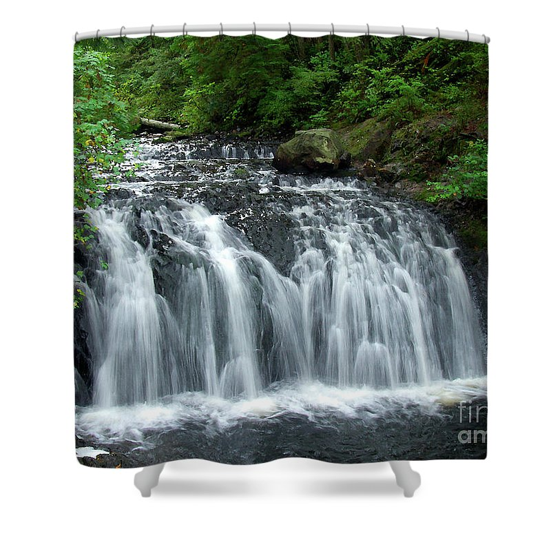 Waterfall Shower Curtain featuring the photograph Rolley Lake Falls Dry Brushed by Sharon Talson