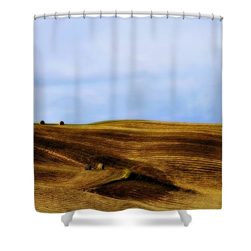 Italy Shower Curtain featuring the photograph Rolling Hills Of Hay by Marilyn Hunt