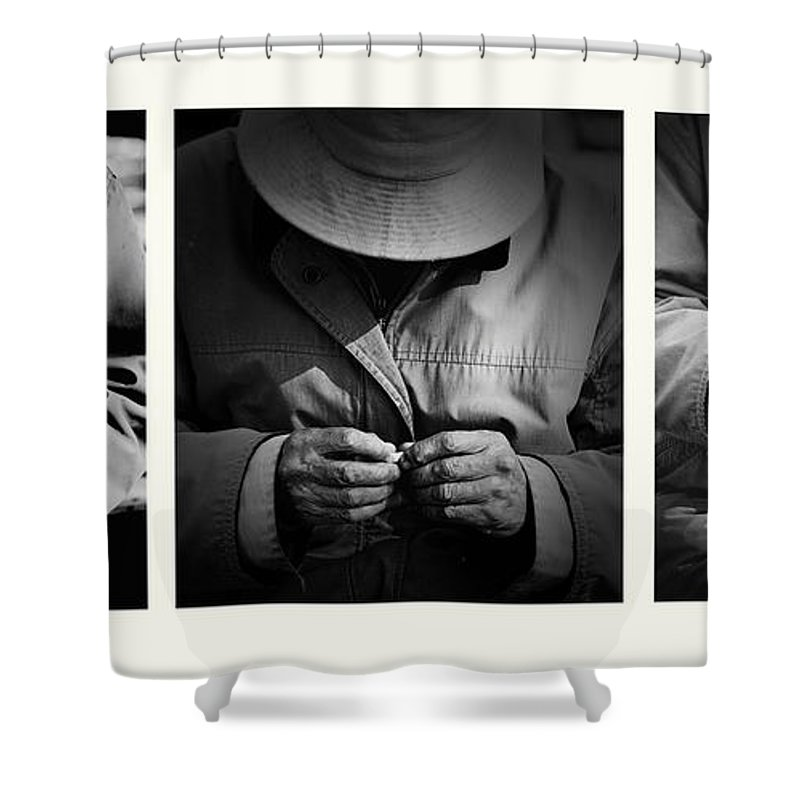 Rollup Rolling Cigarette Smoker Smoking Man Hat Monochrome Shower Curtain featuring the photograph Rolling His Own by Sheila Smart Fine Art Photography
