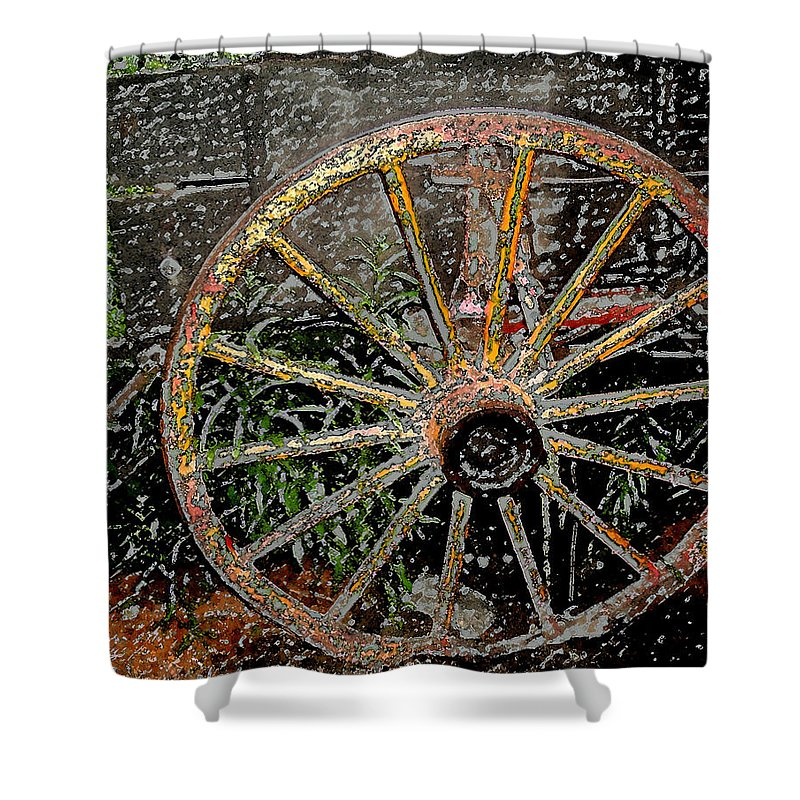Wagon Wheel Shower Curtain featuring the photograph Rolling No More by Wayne Potrafka