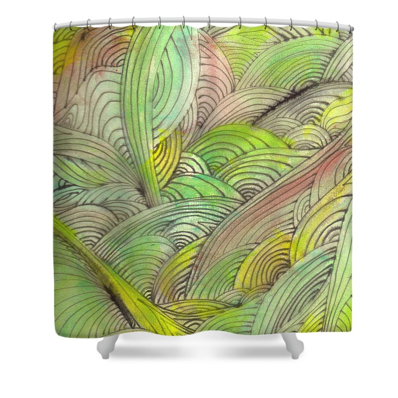 Abstract Shower Curtain featuring the painting Rolling Patterns In Greens by Wayne Potrafka