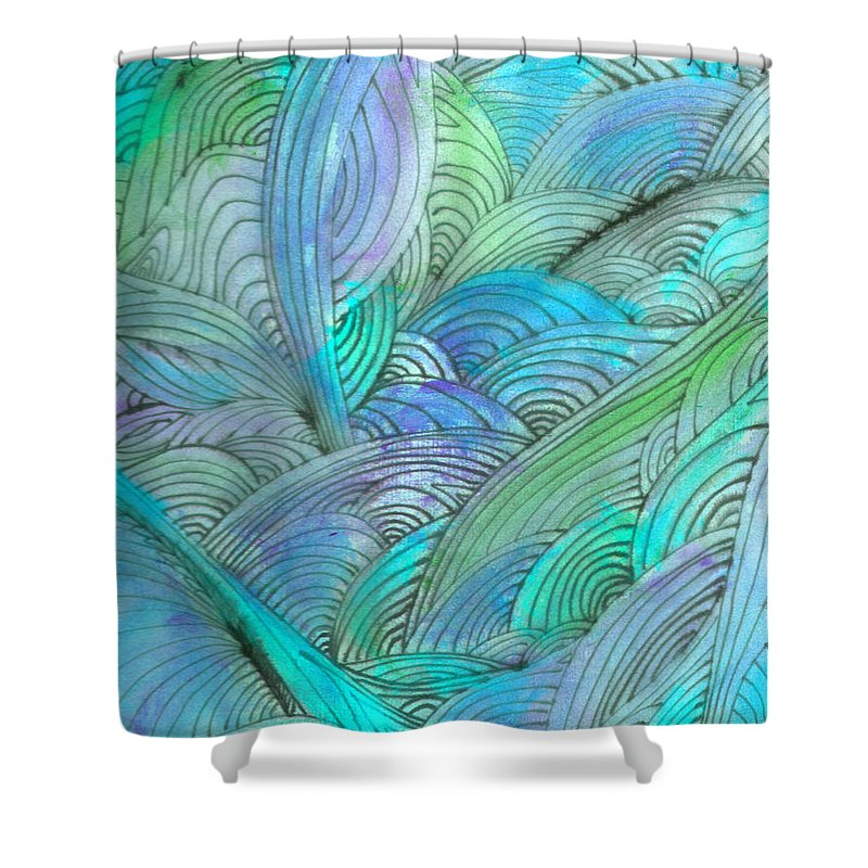 A Shower Curtain featuring the painting Rolling Patterns In Teal by Wayne Potrafka