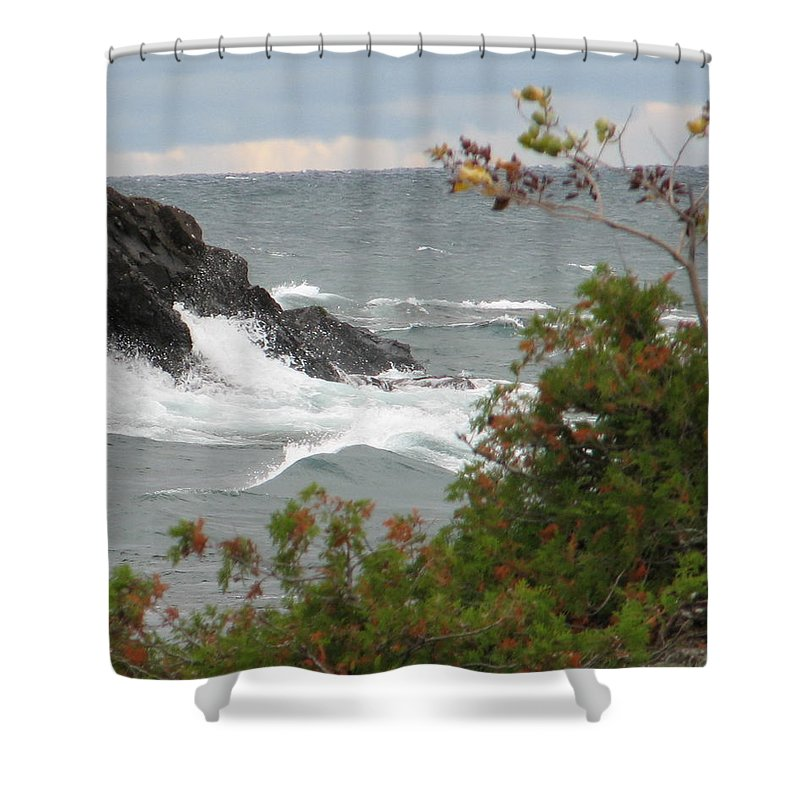 Waves Shower Curtain featuring the photograph Rolling Storm by Kelly Mezzapelle
