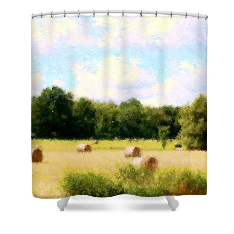 Nature Shower Curtain featuring the photograph Rolling The Hay by David Lane