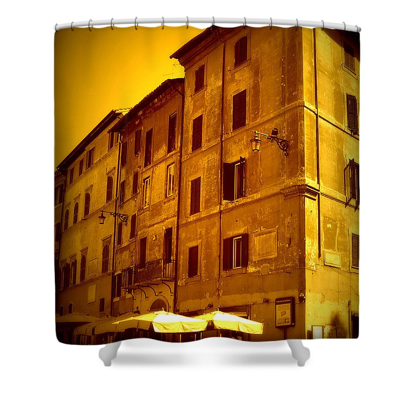 Italy Shower Curtain featuring the photograph Roman Cafe With Golden Sepia 2 by Carol Groenen