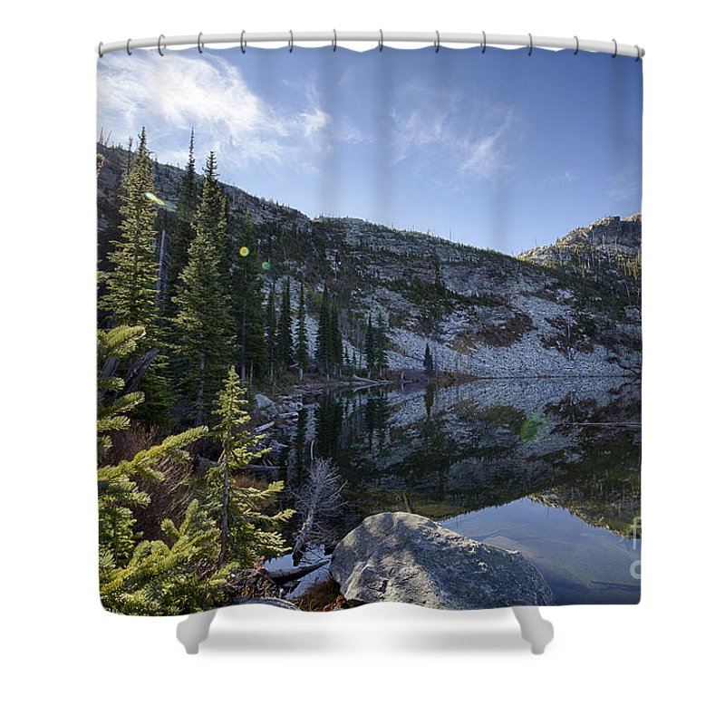 Bonners Ferry Shower Curtain featuring the photograph Roman Nose Lake by Idaho Scenic Images Linda Lantzy