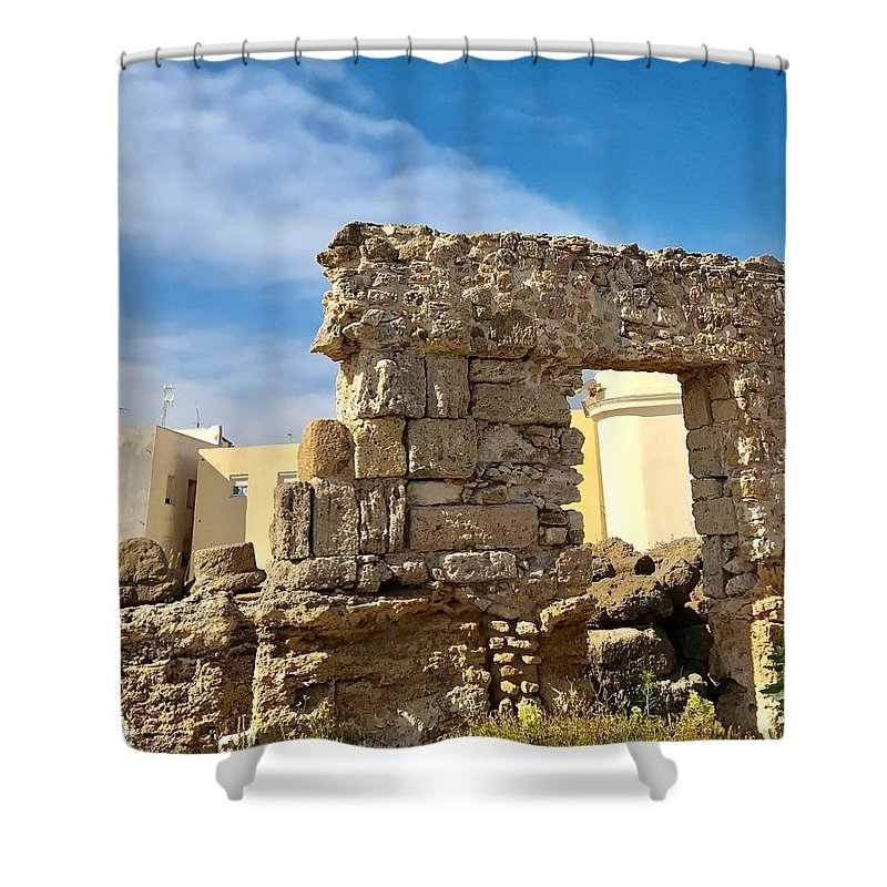 Roman Shower Curtain featuring the photograph Roman Wall In Cadiz Spain by Kenlynn Schroeder