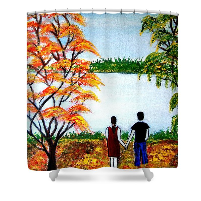 Romance Figures Autumn Orange Trees Green Pop Water Lake Love Valentine Yellow Lake Spring Bloom Shower Curtain featuring the painting Romance In Autumn by Manjiri Kanvinde