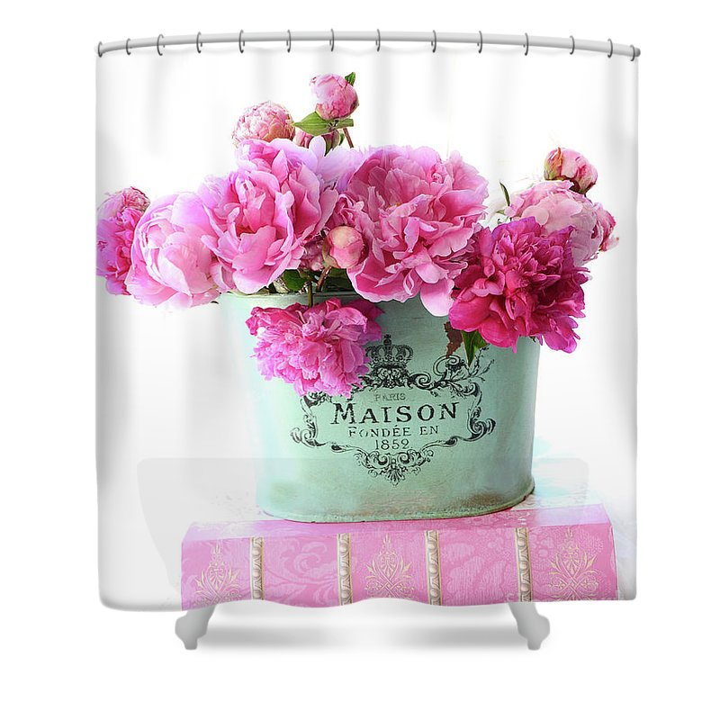 Paris Shower Curtain featuring the photograph Paris Red Pink Peonies Maison Flowers Pink Book - French Aqua Pink Peonies Books Wall Decor by Kathy Fornal