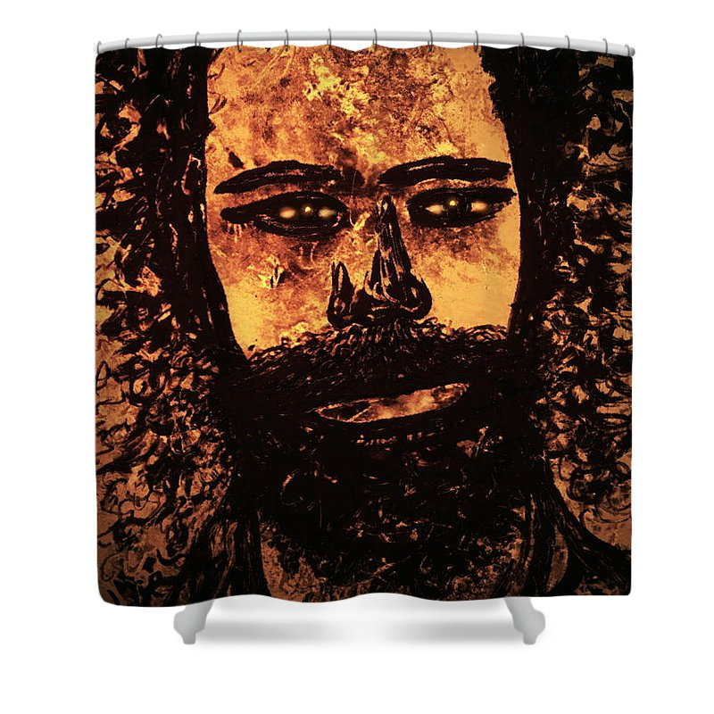 Expressionism Shower Curtain featuring the mixed media Romantic Poet by Natalie Holland