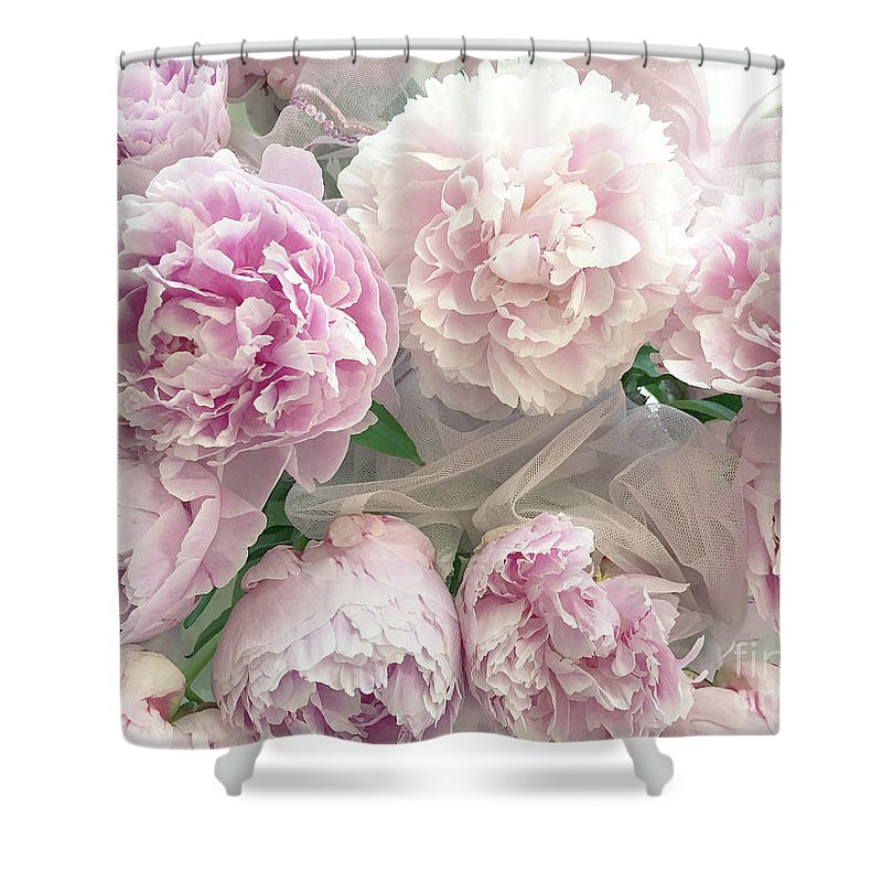 Pastel Pink Peonies Shower Curtain Featuring The Photograph Romantic Shabby Chic Bouquet