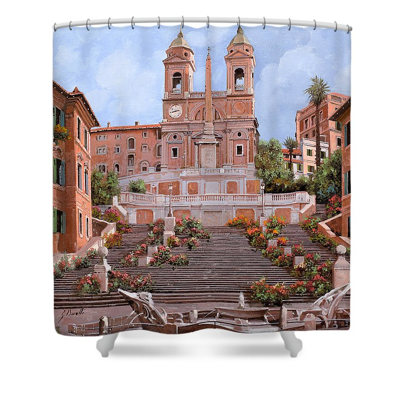 Rome Shower Curtain featuring the painting Rome-piazza Di Spagna by Guido Borelli