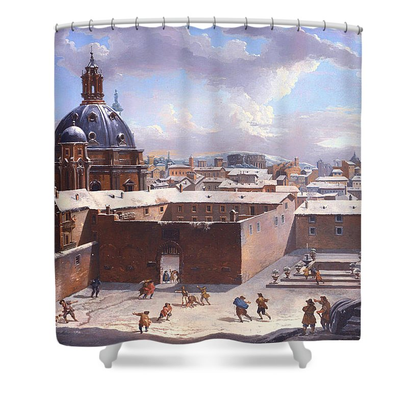 Painting Shower Curtain featuring the painting Rome Under The Snow by Mountain Dreams