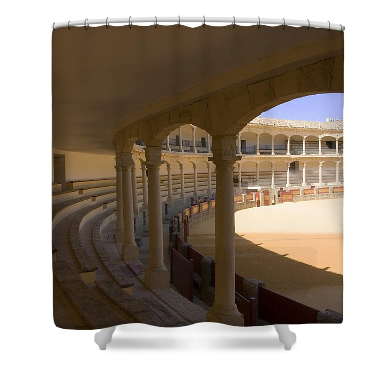 Bullfight Shower Curtain featuring the photograph Ronda Bullring The Real Maestranza De Caballeria by Mal Bray