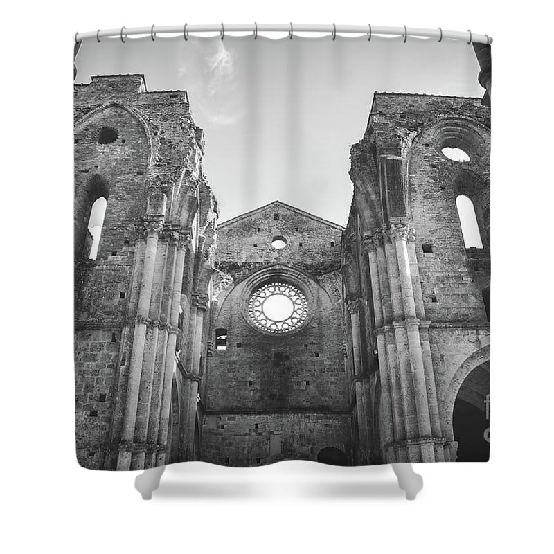 Abandoned Shower Curtain featuring the photograph Roofless Church Black And White by Luca Lorenzelli